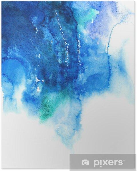 Poster Bleu aquarelle abstraite de fond peint à la main - Destin