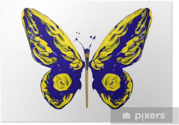 Poster Bleu Et Jaune Papillon Peinture Faite Pixers Nous Vivons Pour Changer