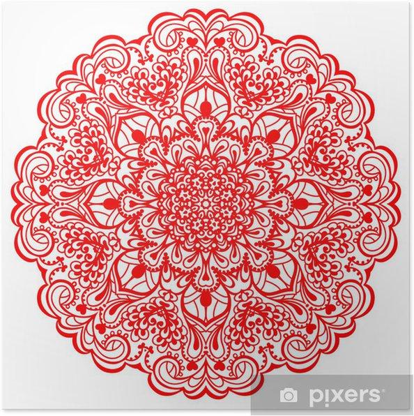 Poster Bloem Mandala. Abstract element voor ontwerp - Muursticker