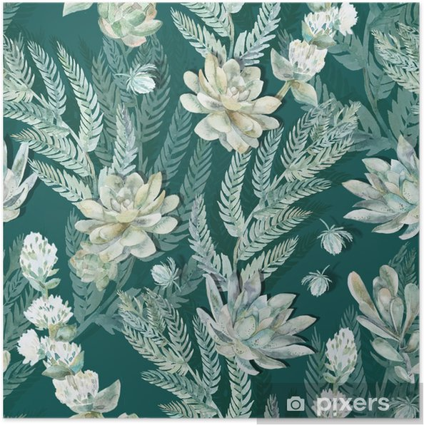 Poster Bloemen naadloos patroon. Vetplanten, varens, doornen. - Dieren