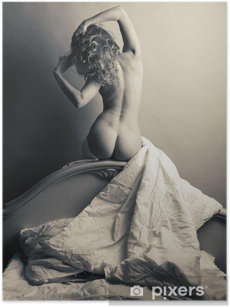 Poster Blondin naken i sängen på en grå bakgrund. - Teman