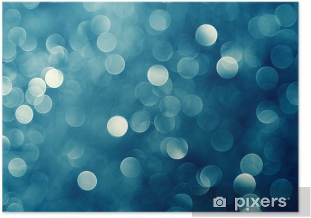 Christmas Lights Background.Blue Christmas Lights Background Poster