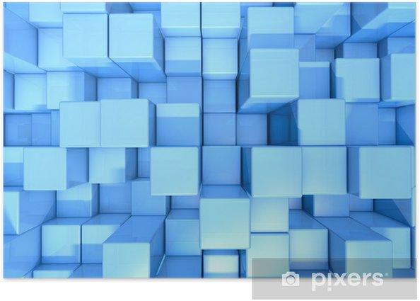 Poster Blue cubes fond abstrait - Arrière plans