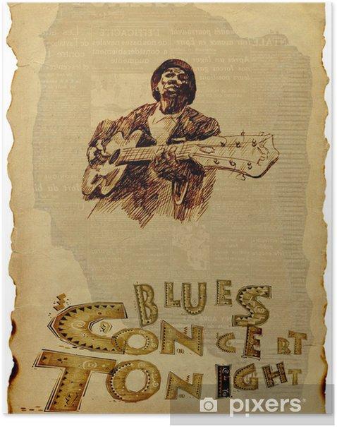 Poster Bluesman à la guitare - Divertissements