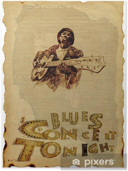 Poster Bluesman met gitaar - Amusement
