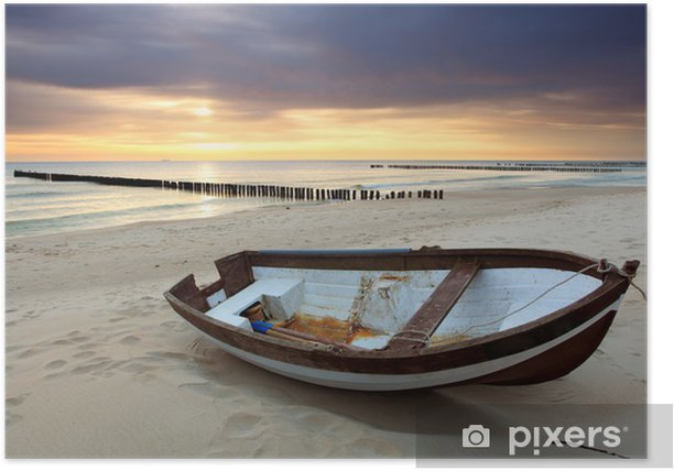Boat on beautiful beach in sunrise Poster - Themes