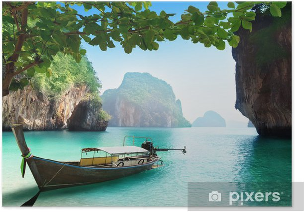 boat on small island in Thailand Poster - Themes