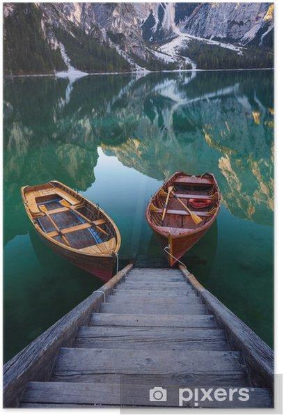 Boats on the Braies Lake ( Pragser Wildsee ) in Dolomites mounta Poster - Landscapes