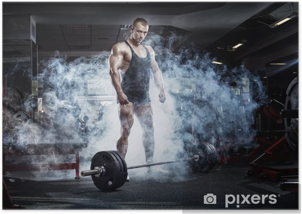 bodybuilder athletic guy standing with barbell workout in gym poster