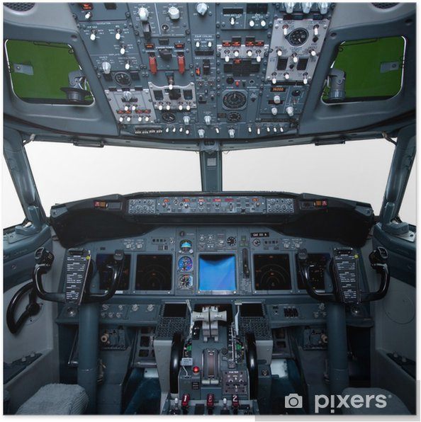 Poster Boeing intérieur, vue cockpit à l'intérieur de l'avion de ligne - iStaging