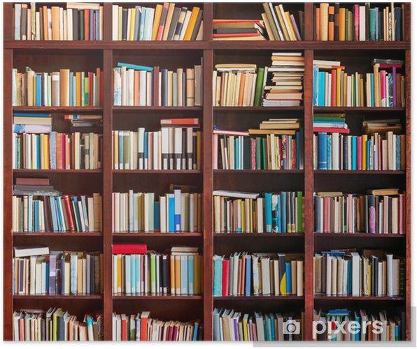 Poster Boekenkast vol met boeken - bibliotheek