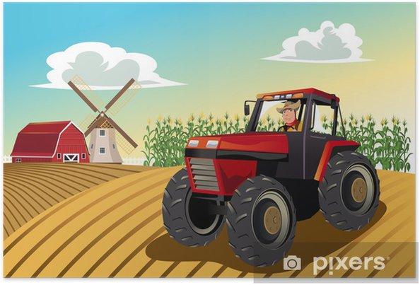 Poster Boer rijdt op een tractor - Thema's