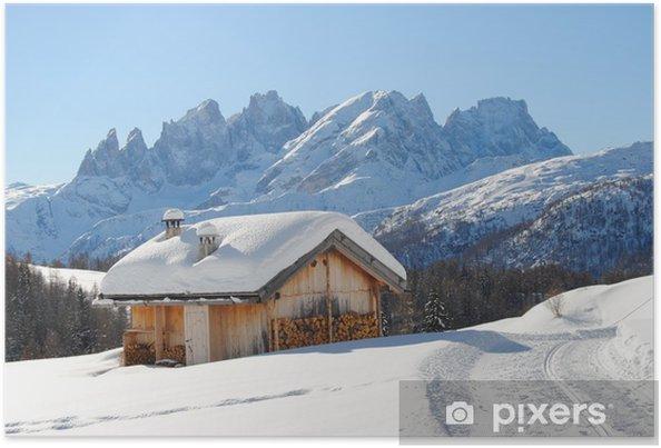 Poster Bois Hut et Dolomti - Vacances