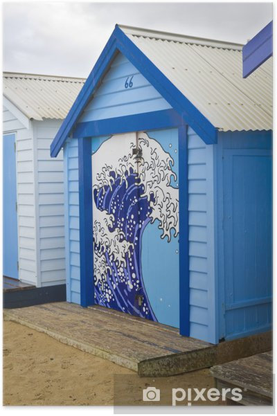 Poster Boîte de bain bleu - Eau