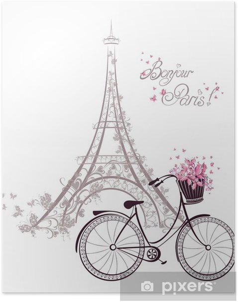 Bonjour Paris text with Eiffel Tower and bicycle Poster -