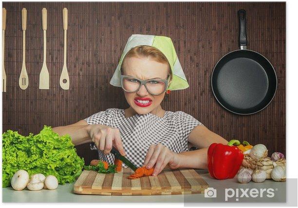 Poster Bonne Femme Drole Cuisinier Travaillant Dans La Carotte De Coupe De Cuisine Pixers Nous Vivons Pour Changer