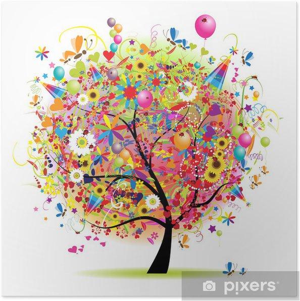 Poster Bonnes vacances, arbre drôle avec baloons - Sticker mural