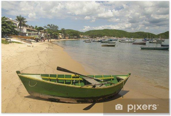 Poster Boot am Strand von Buzios, Brésil - Amérique