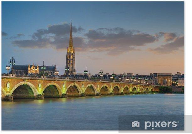 Poster Bordeaux - Pont de Pierre et Basilique Saint Michel - Thèmes