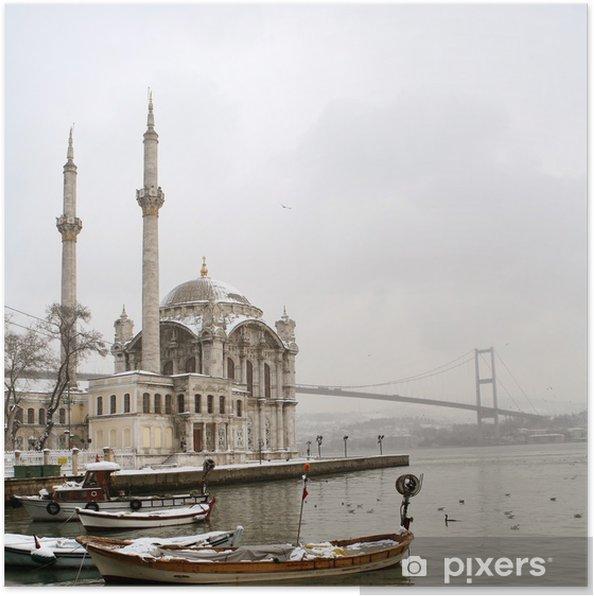 Poster Bosporus-brug en Ortakoy moskee in Istanbul Turkije - Thema's