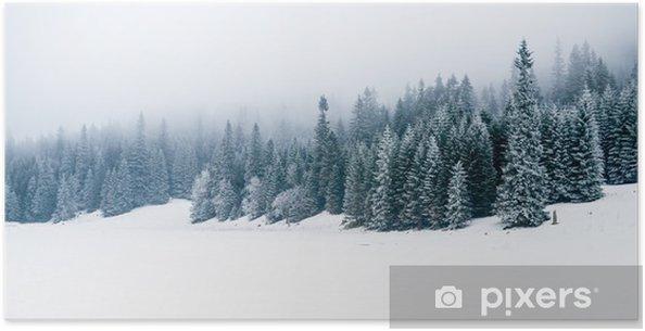 Póster Bosque blanco del invierno con nieve, fondo de Navidad - iStaging