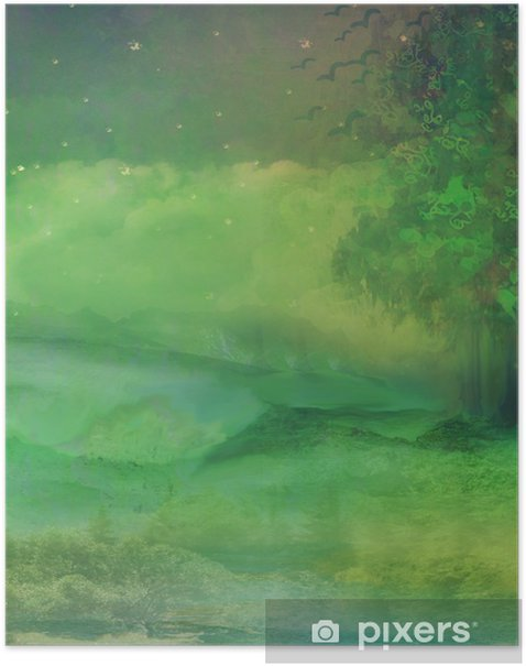 Póster Bosque de la noche en la montaña - Maravillas de la naturaleza