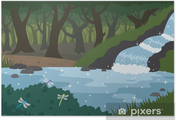 Póster Bosque - Agua