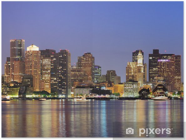 Poster Boston Downtown stedelijke skyline - Amerika