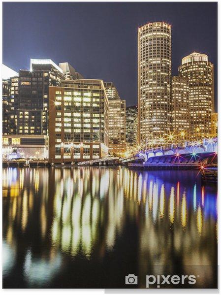 Poster Boston Harbor et du quartier financier de nuit - Amérique