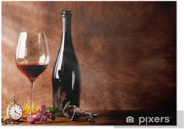 Poster Bottiglia di vino rosso con calice - Alcool