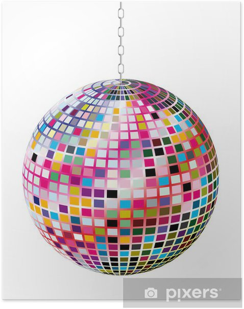 Poster Boule de Facette multicolore - Divertissements