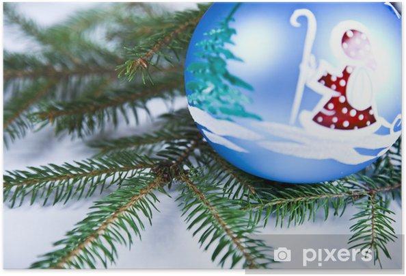 Poster Boule de Noël bleu avec l'ornement de Santa Claus - Fêtes internationales