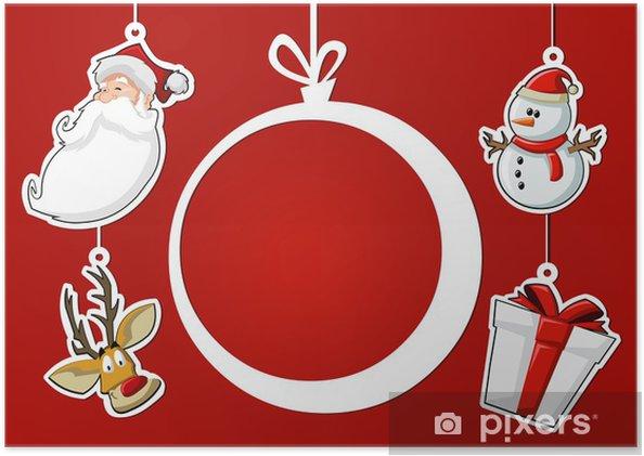 Poster Boule De Noël Père Noël Rennes Bonhomme De Neige Et Un