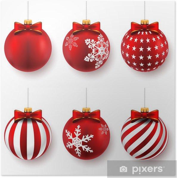 Poster Boules de Noël rouges - Fêtes internationales