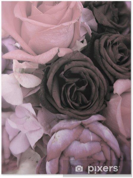 Poster Bouquet antique de roses et pivoines roses - Bonheur