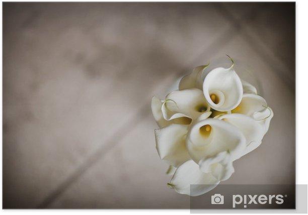 Poster Bouquet de callas, la profondeur de champ - Fleurs