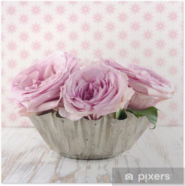 Poster Bouquet de roses roses. - Fleurs