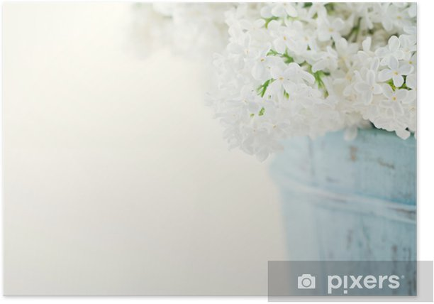 Bouquet of white lilac spring flowers Poster - Styles