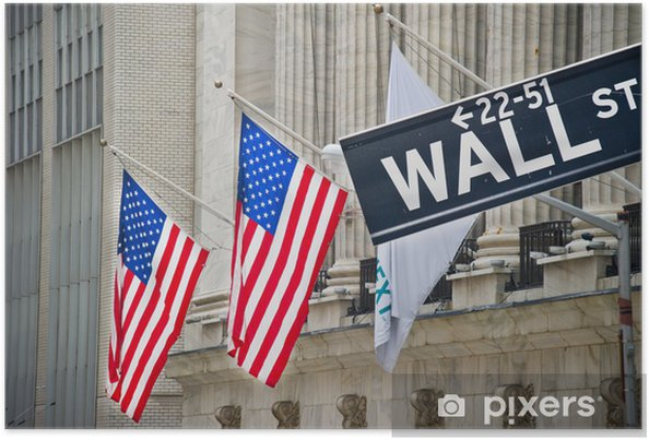 Poster Bourse et Wall Street - Amerikanska städer