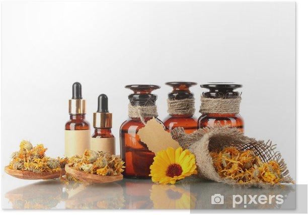 Poster Bouteilles de médicaments et de calendula, isolé sur blanc - Fleurs