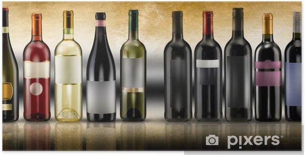 Poster Bouteilles de vin sur fond antique - Pour restaurant
