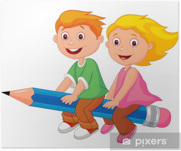 Boy and girl flying on a pencil Poster