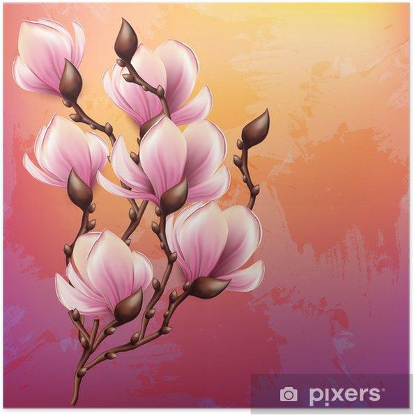 Poster Branche de magnolia illustration d'aquarelle - Thèmes