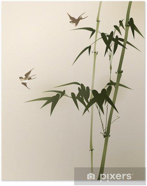 Poster Branches de bambou, vectorisé peinture de style oriental - Thèmes