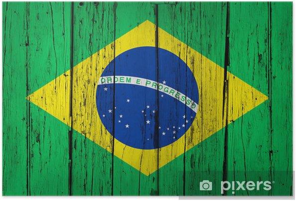 Poster Brasilien sjunker Wood Bakgrund - Teman