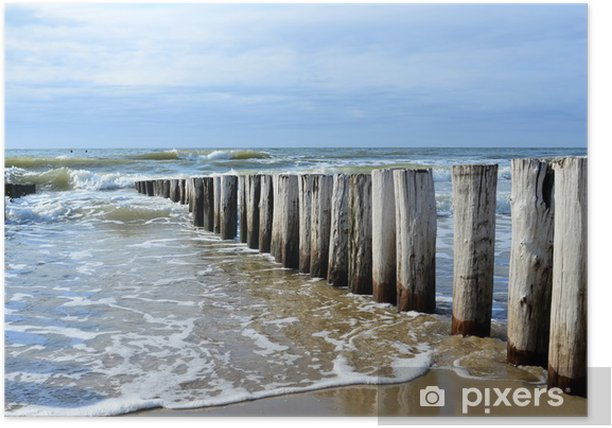 breakwaters on the beach at the north sea in Domburg Holland Poster - Themes