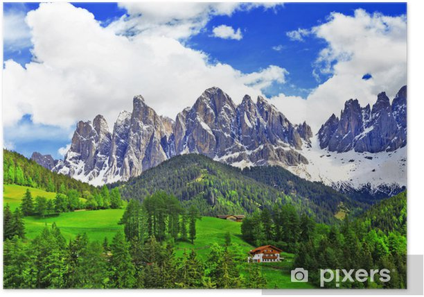 breathtaking nature of Dolomites. Italian Alps Poster - Holidays