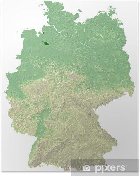 Bremen Topografische Relief Karte Deutschland Poster Pixers