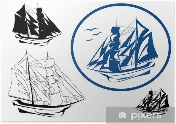 Poster Brigantin dans l'emblème voile vecteur complet - Bateaux