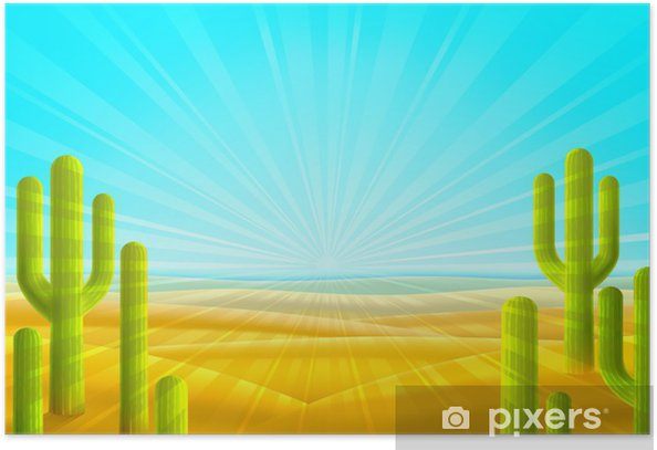 Bright sandy desert scenery with several green cacti Poster - Deserts